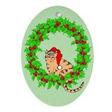 Santa Claws Oval Christmas Ornament