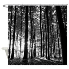 Black and White Forest Shower Curtain