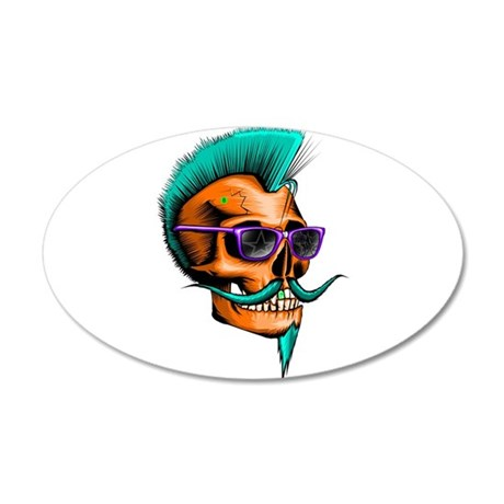 Neon Hipster Skull Orange 20x12 Oval Wall Decal
