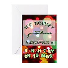 Ice Hockey Sniper (green Camo) Xmas Greeting Cards