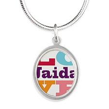 I Love Jaida Silver Oval Necklace