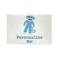 Baby Blue Sock Monkey Rectangle Magnet