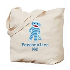 Baby Blue Sock Monkey Tote Bag