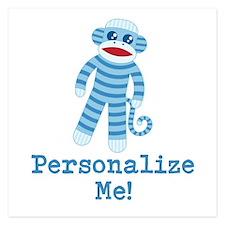 Baby Blue Sock Monkey Invitations