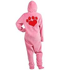 pet paw heart Footed Pajamas
