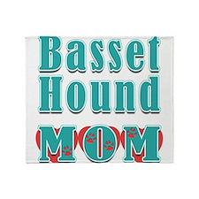 Basset Hound Mom Hearts Throw Blanket