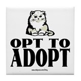 Opt To Adopt (cat) Tile Coaster