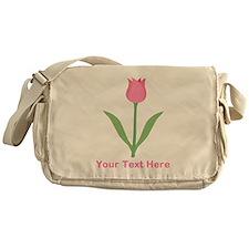 Pink Tulip with Custom Text. Messenger Bag