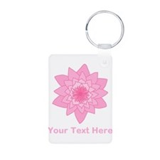 Pink Water Lily and Text. Keychains