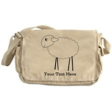 Sheep. Custom Black Text. Messenger Bag