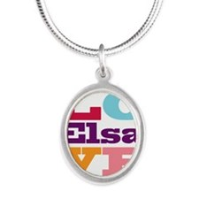I Love Elsa Silver Oval Necklace
