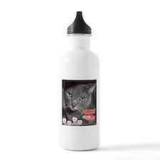Valentine Russian Blue Gray Cat Water Bottle