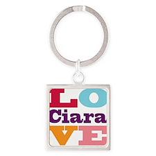 I Love Ciara Square Keychain