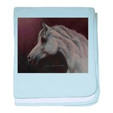 Gray Arabian Stallion Head Profile baby blanket
