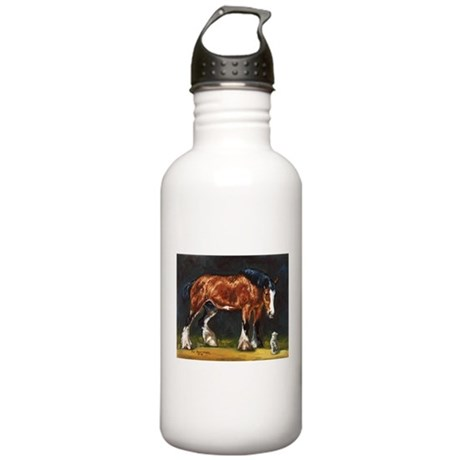 Clydesdale Horse and Cat Stainless Water Bottle 1.