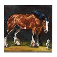 Clydesdale Horse and Cat Tile Coaster