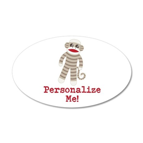 Classic Sock Monkey 35x21 Oval Wall Decal