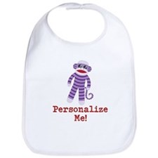 Purple Sock Monkey Bib
