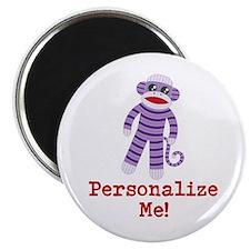 Purple Sock Monkey Magnet