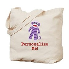 Purple Sock Monkey Tote Bag
