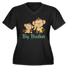 Big Brother Monkeys Women's Plus Size V-Neck Dark