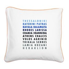 Greek Cities Blue Square Canvas Pillow