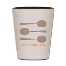 Spoons, Orange Custom Text. Shot Glass