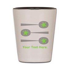 Spoons, Green Custom Text. Shot Glass