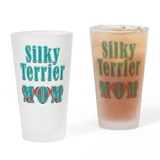 Silky Terrier Mom Hearts Drinking Glass