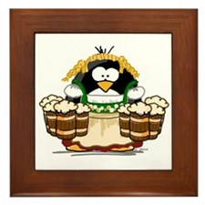 Oktoberfest Bar Maid Penguin Framed Tile