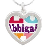 I Love Abbigail Silver Heart Necklace