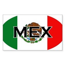Mexican Flag with Text Oval Decal