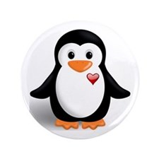 "penguin with heart 3.5"" Button (100 pack)"