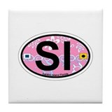 Sanibel Island - Oval Design. Tile Coaster