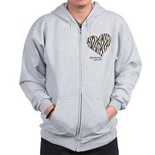 Zebra Print Heart Zip Hoody