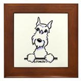 White Schnazuer Paws Up Framed Tile