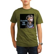 Doberman Pinscher Smiles Black T-Shirt T-Shirt