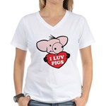 I Love Pigs Women's V-Neck T-Shirt