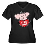 I Love Pigs Women's Plus Size V-Neck Dark T-Shirt