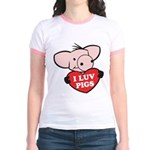 I Love Pigs Jr. Ringer T-Shirt