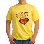 I Love Pigs Yellow T-Shirt