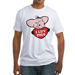 I Love Pigs Fitted T-Shirt