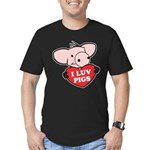 I Love Pigs Men's Fitted T-Shirt (dark)
