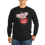 I Love Pigs Long Sleeve Dark T-Shirt