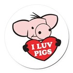 I Love Pigs Round Car Magnet