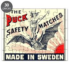 Puck Riding Bat Swedish Matchbox Label Puzzle