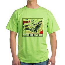 Puck Riding Bat Swedish Matchbox Label T-Shirt
