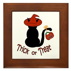 Halloween Cat in the Hat Framed Tile