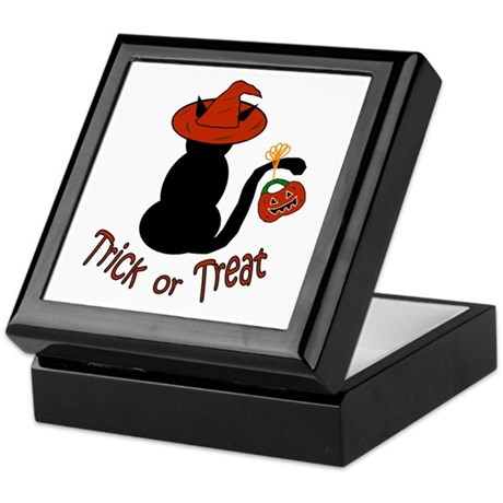 Halloween Cat in the Hat Keepsake Box