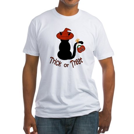 Halloween Cat in the Hat Fitted T-Shirt